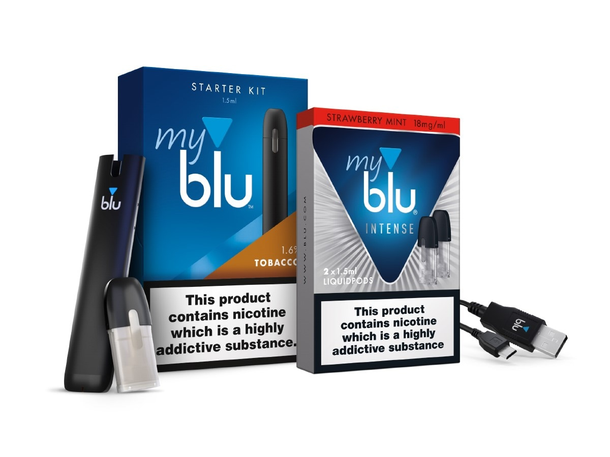 myblu intense starter kit vape pen, charger and Strawberry Mint Intense pack of liquidpods