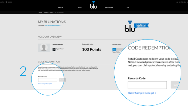 An image showing where bluNation users can input a code to earn points from offline purchases