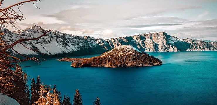 A photograph of Crater Lake showing a small island within the lake itself