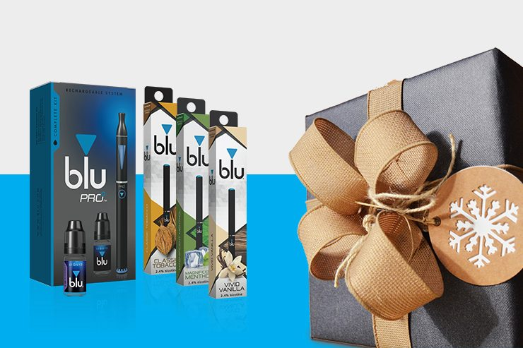 A gift-wrapped box next to a selection of blu products