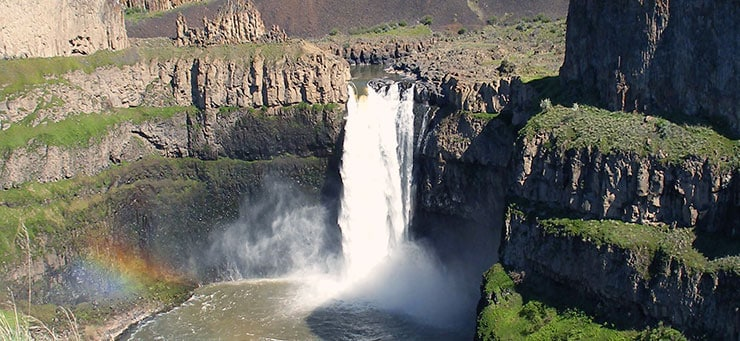 An aerial shot of Palouse Falls