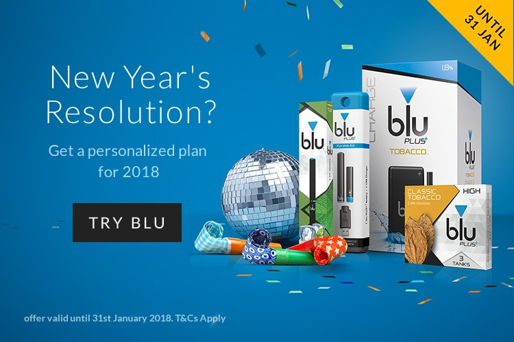 Model vaping a blu e-cigarette banner image | blu US