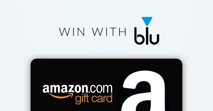 """An image showing an Amazon gift card along with the phrase """"Win With blu"""""""