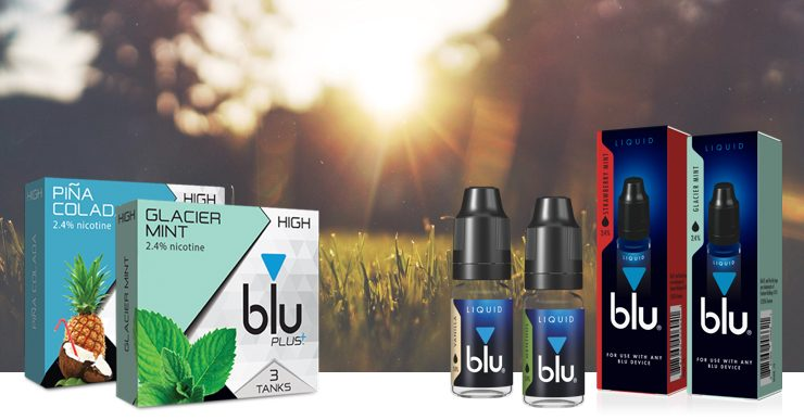 An image showing the flavors Piña Colada, Glacier Mint, Strawberry Mint, Menthol and Vanilla