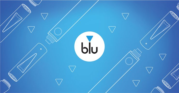 The blu logo against a blue background with outlines of disassembled e-cigarettes