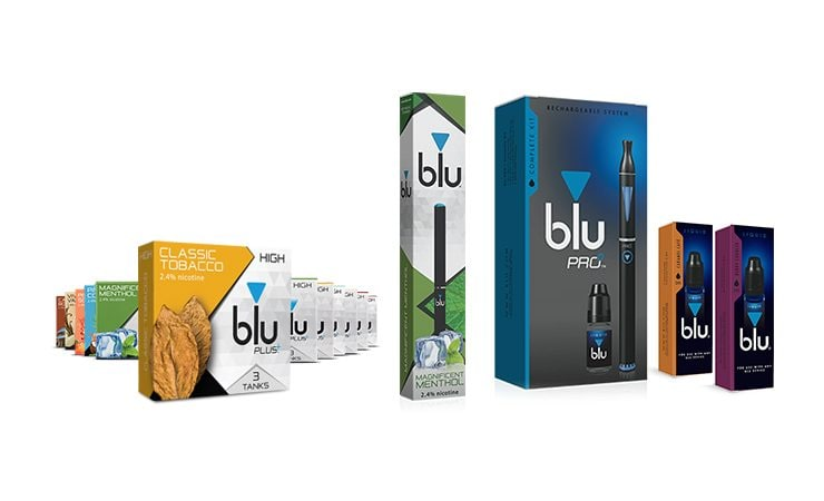 An image of the new blu products, including blu tanks, a blu Disposable, blu PRO Kit and blu Liquid