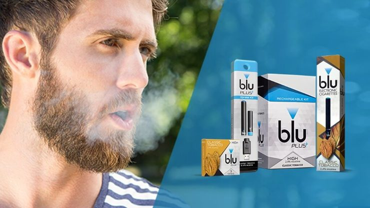 A close-up of a man exhaling vapor next to an image of the blu PLUS product range, including the pack and Classic Tobacco tanks