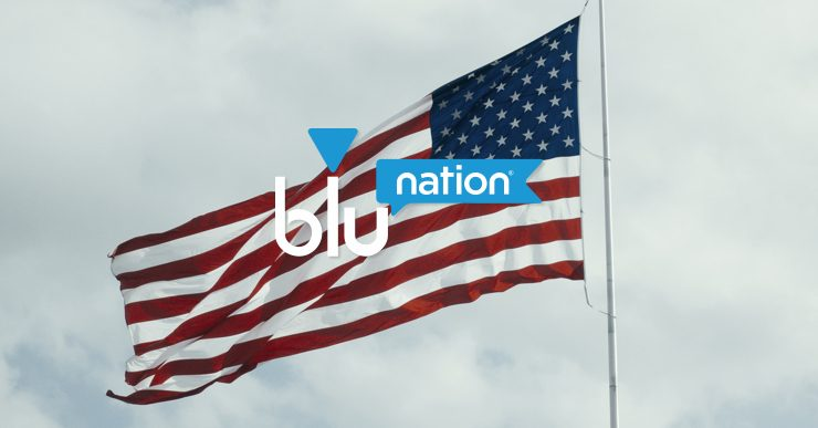 The American flag with the bluNation logo
