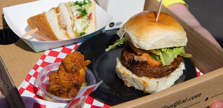 A burger and fried chicken platter from the LA Food Festival