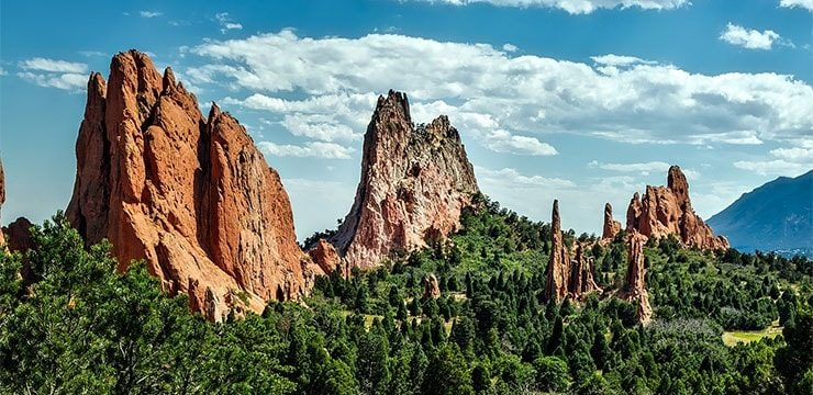 A wide photograph of the Garden Of The Gods