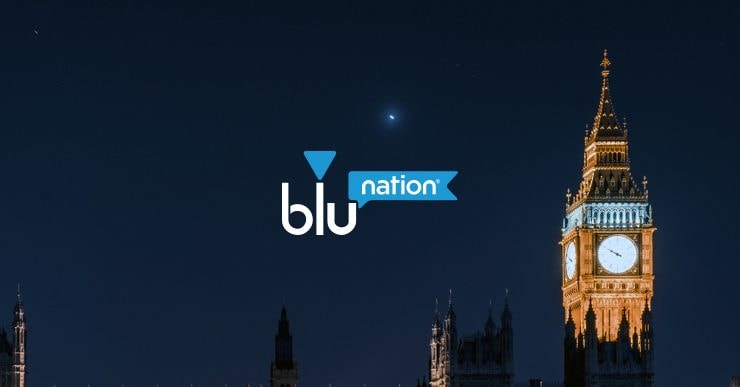 An image of Big Ben at night with the bluNation logo