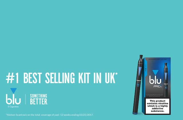Model vaping a blu e-cigarette banner image | blu UK
