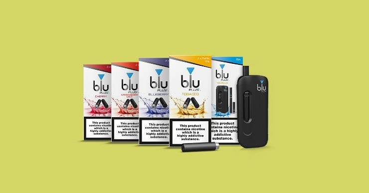 An image showing the new packaging for the blu PLUS+ range of e-cigarettes and refills