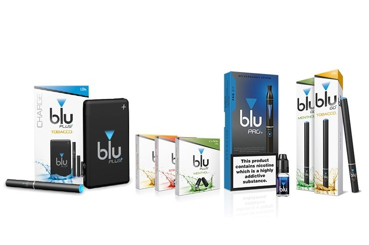 An image showcasing different blu products, including the blu PRO, blu PLUS and blu GO Disposables