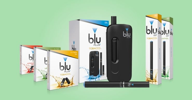 An image showing the blu PLUS range, blu PLUS refills and blu GO Disposables